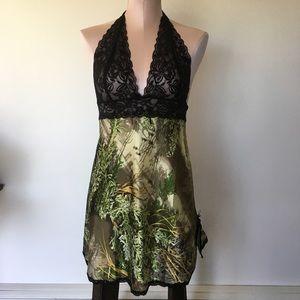 NWOT Camo & lace lingerie slip